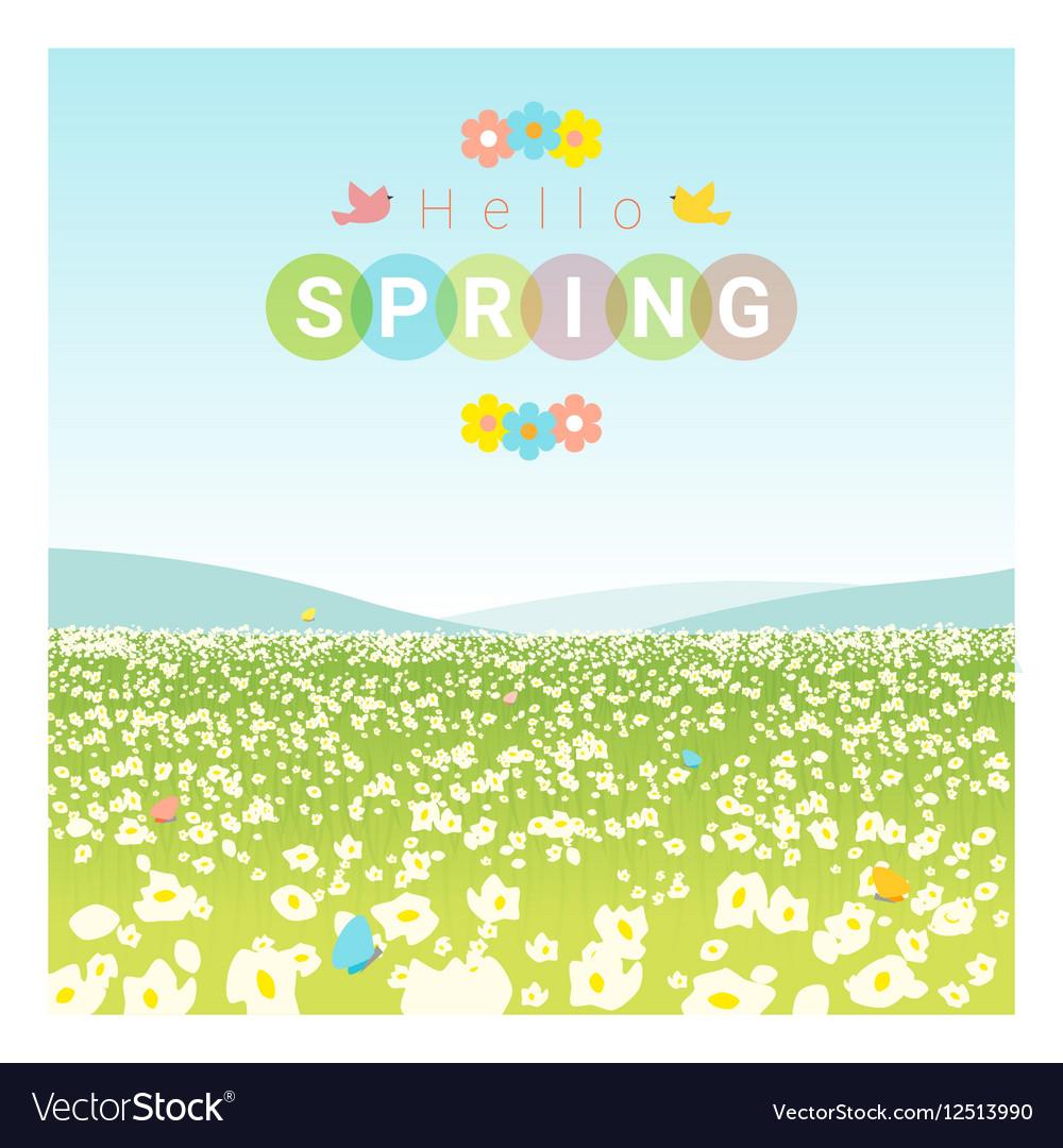 Hello spring landscape background vector image