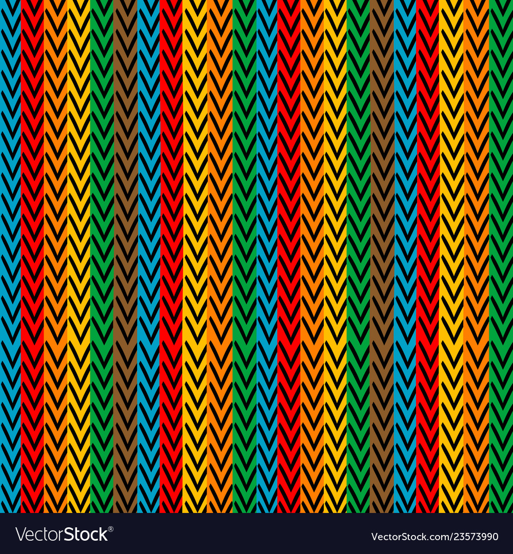 Multicolored vertical striped with zigzag elements