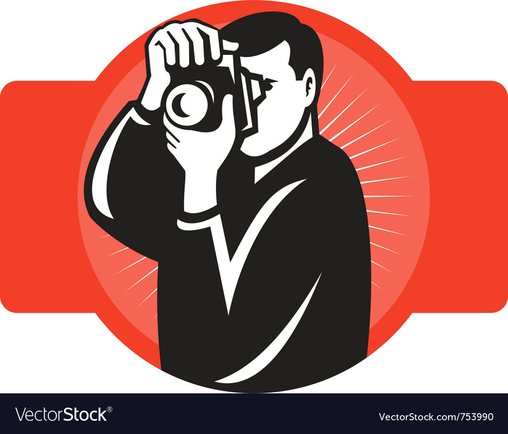 Photographer aiming slr camera vector image