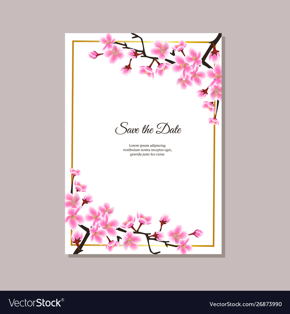Save date floral card with sakura flowers