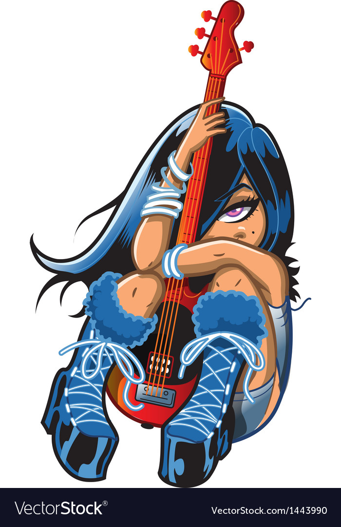 Shy Girl With Guitar vector image