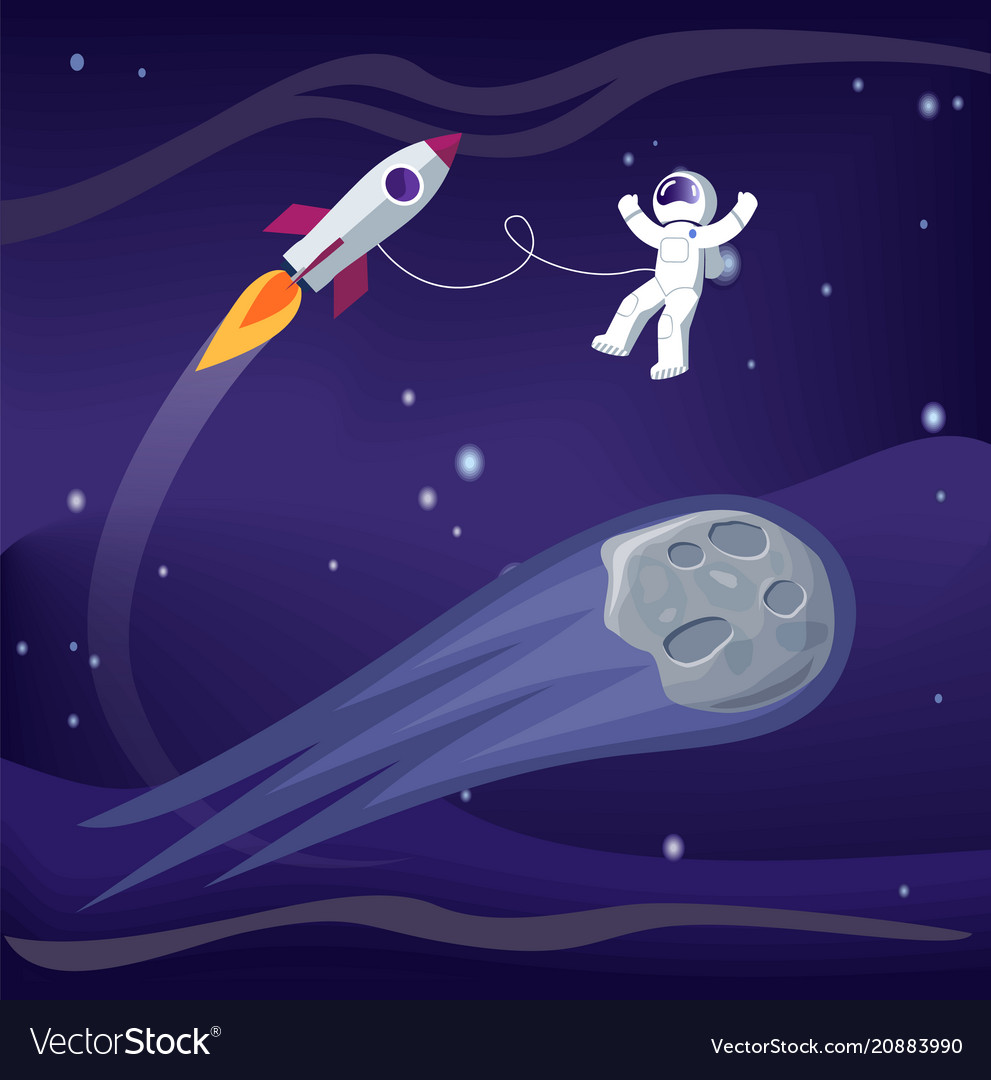 Space and astronaut with ship