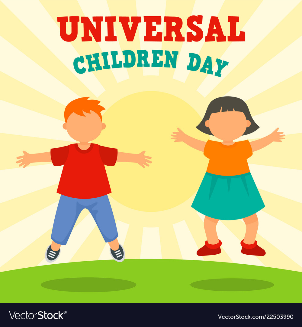 Sunny children day concept background flat style