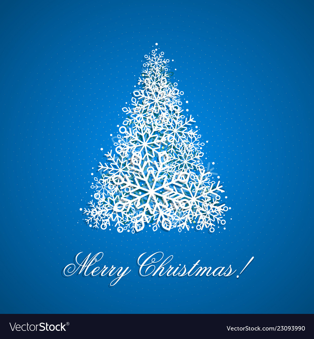 The background with christmas tree from snowflakes