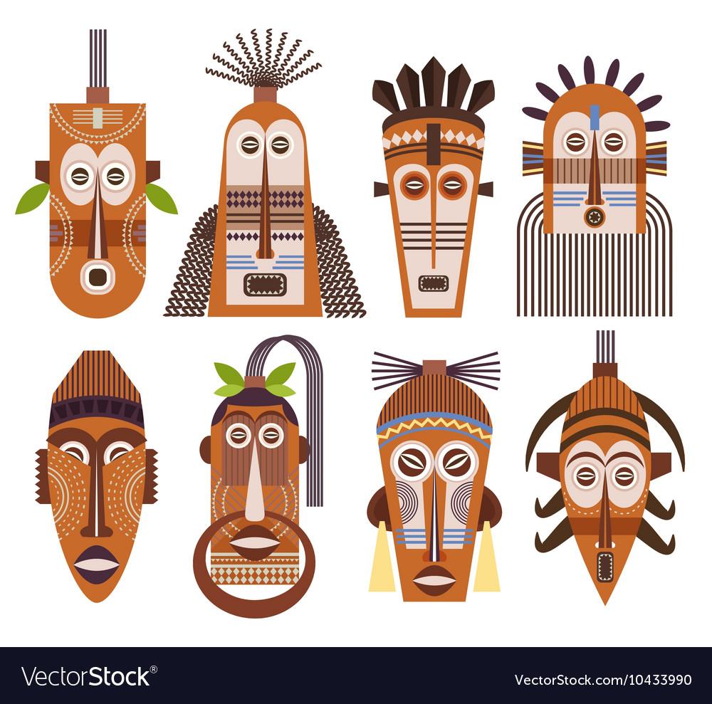 Tribal ethnic mask icons