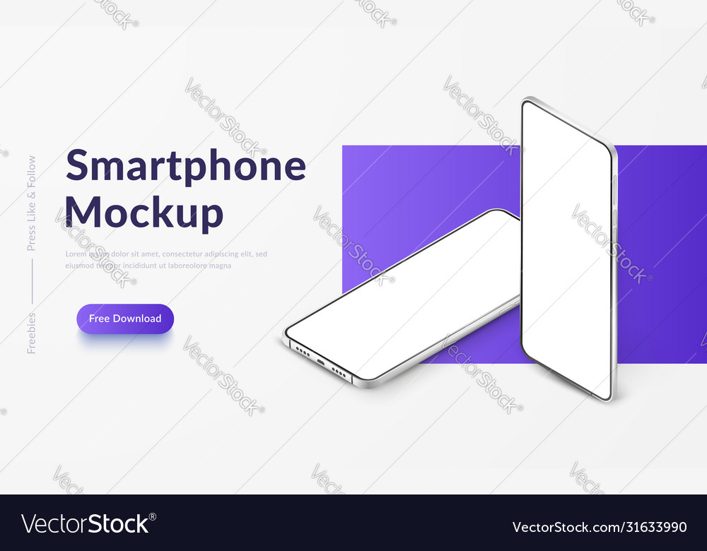 Two white realistic isometric smartphones mockup