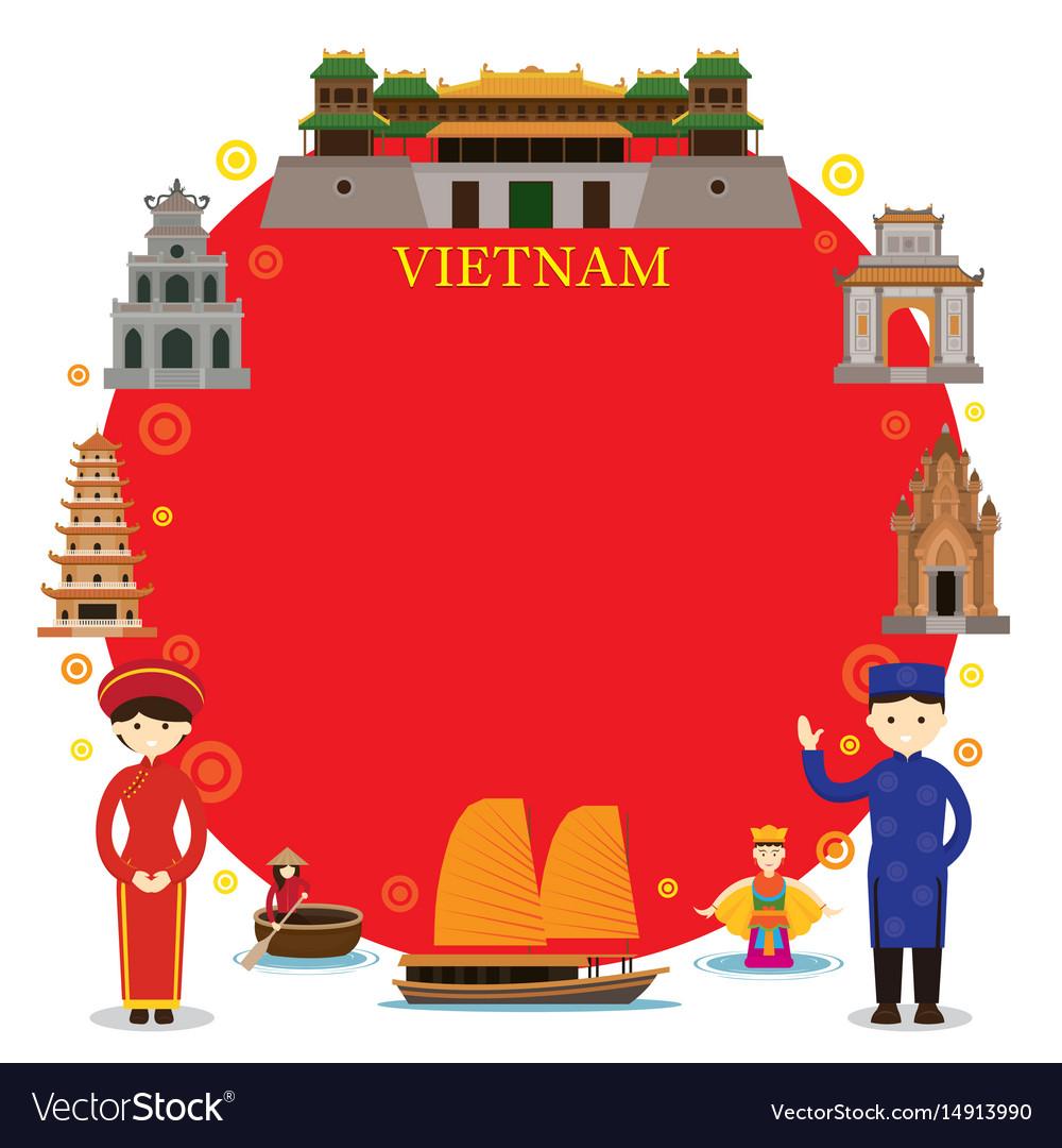 Vietnam landmarks people in traditional clothing