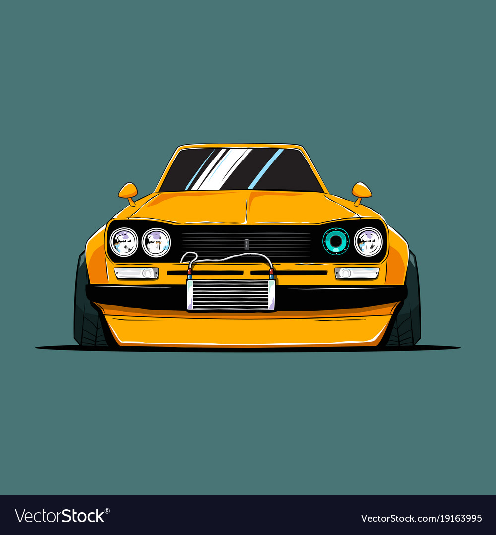 Cartoon tuned old japan car front view
