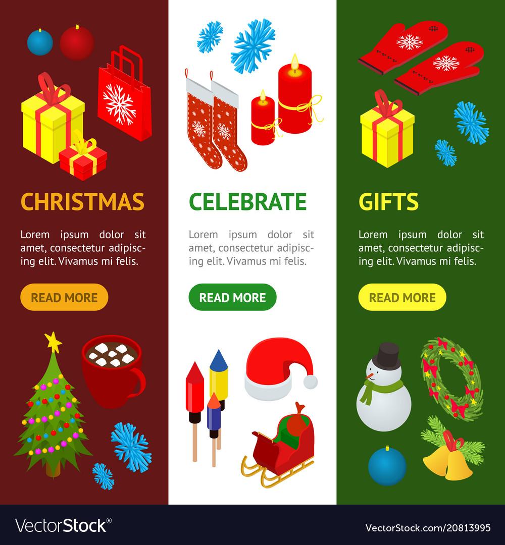 Christmas celebration banner vecrtical set 3d