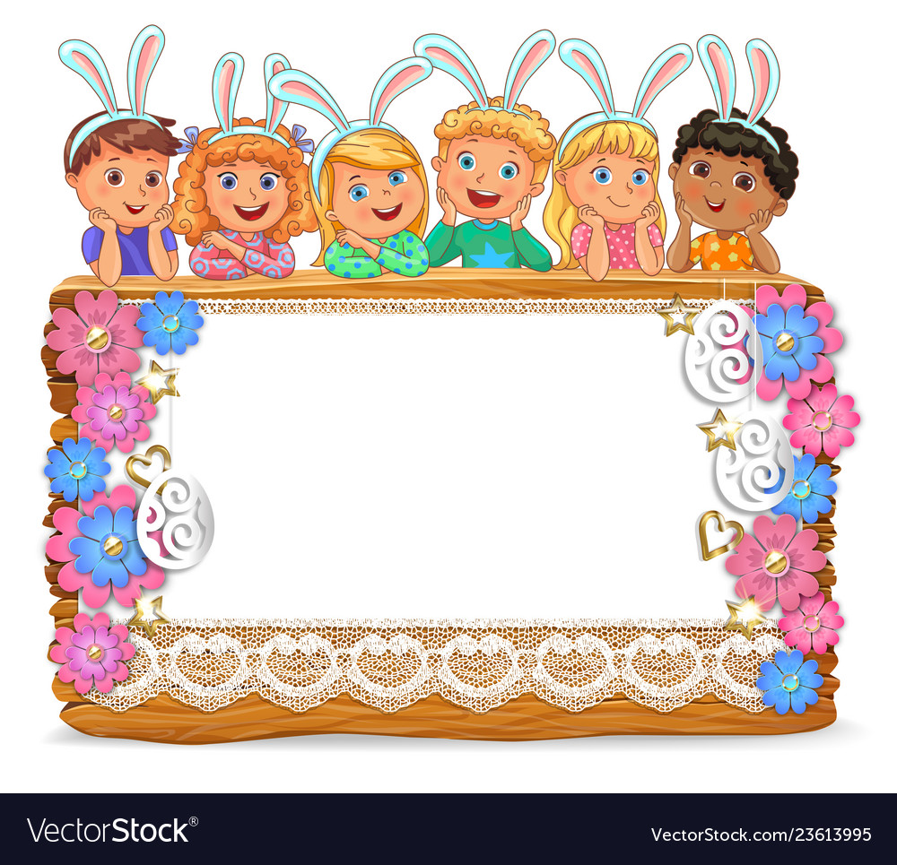 Cute kids with banny ears on wooden board