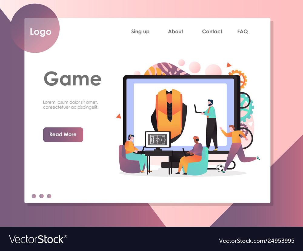 Game website landing page design template