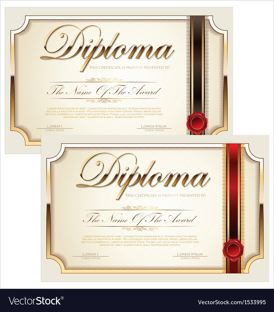 Golden Certificate Template Set Royalty Free Vector Image