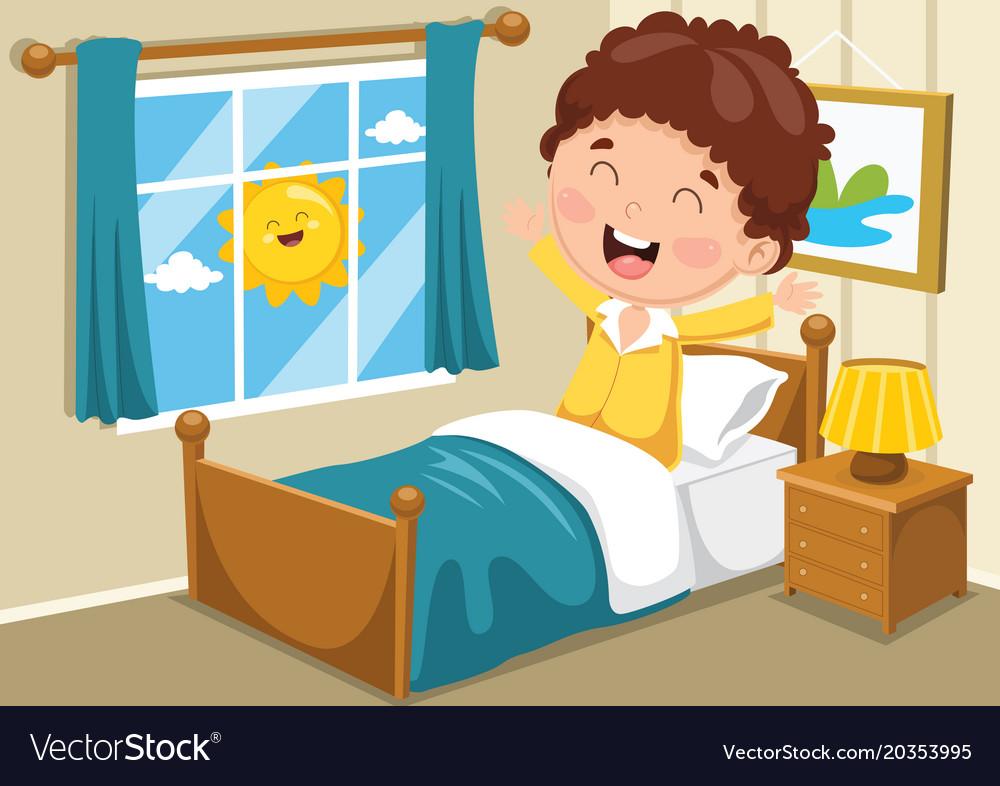 Kid Waking Up Royalty Free Vector Image - Vectorstock-1477