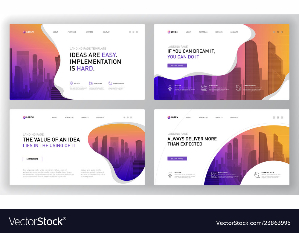 Landing page templates set for business