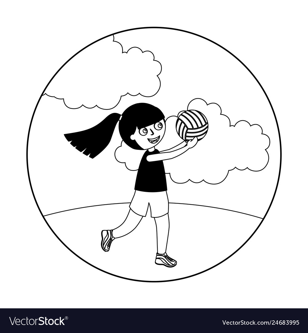 Little girl playing volleyball isolated icon