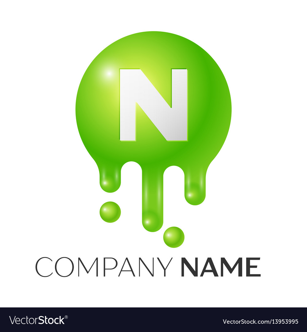 N letter splash green dots and bubbles letter vector image