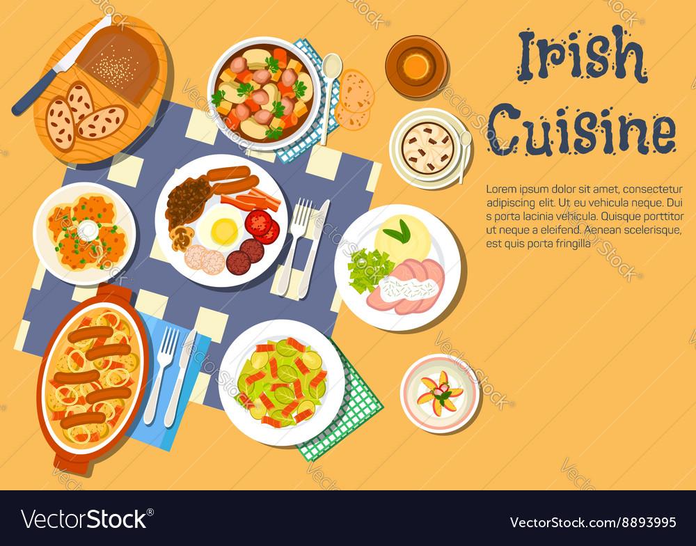 Nourishing meaty irish dishes for dinner menu icon vector image
