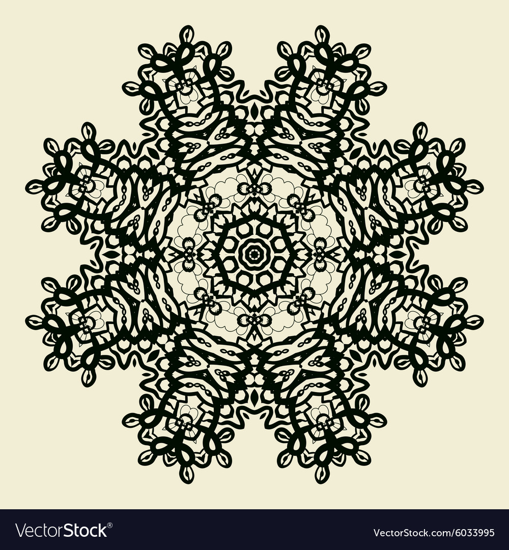 Outlined Mandala Print Stylized Oriental Lace