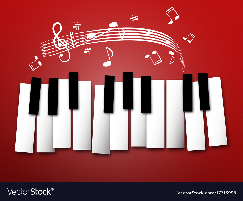 piano keys music notes and staff abstract vector image