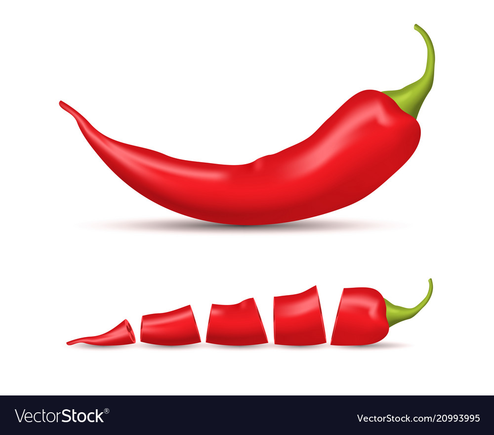 Realistic detailed 3d whole red hot chili pepper