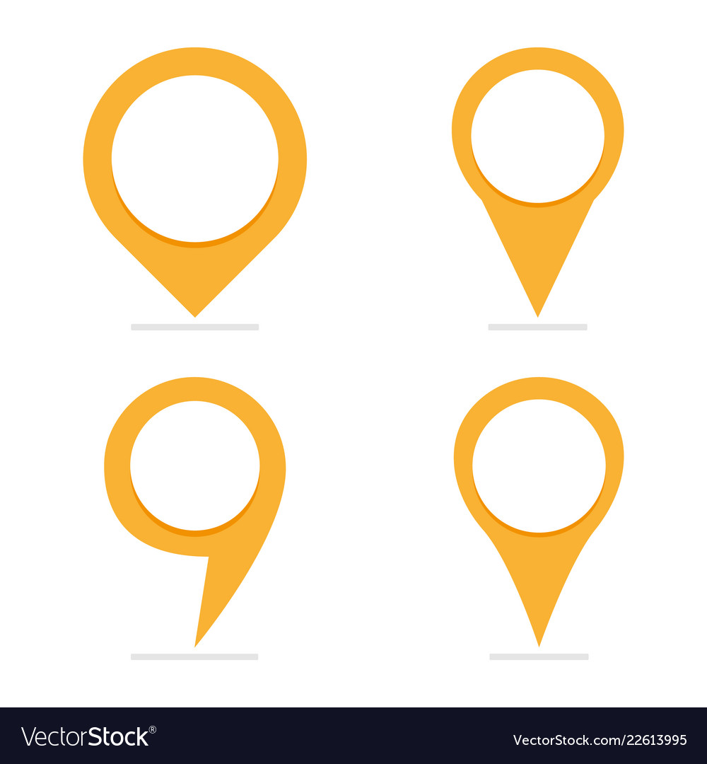 Set of 4 yellow map pointers in different form