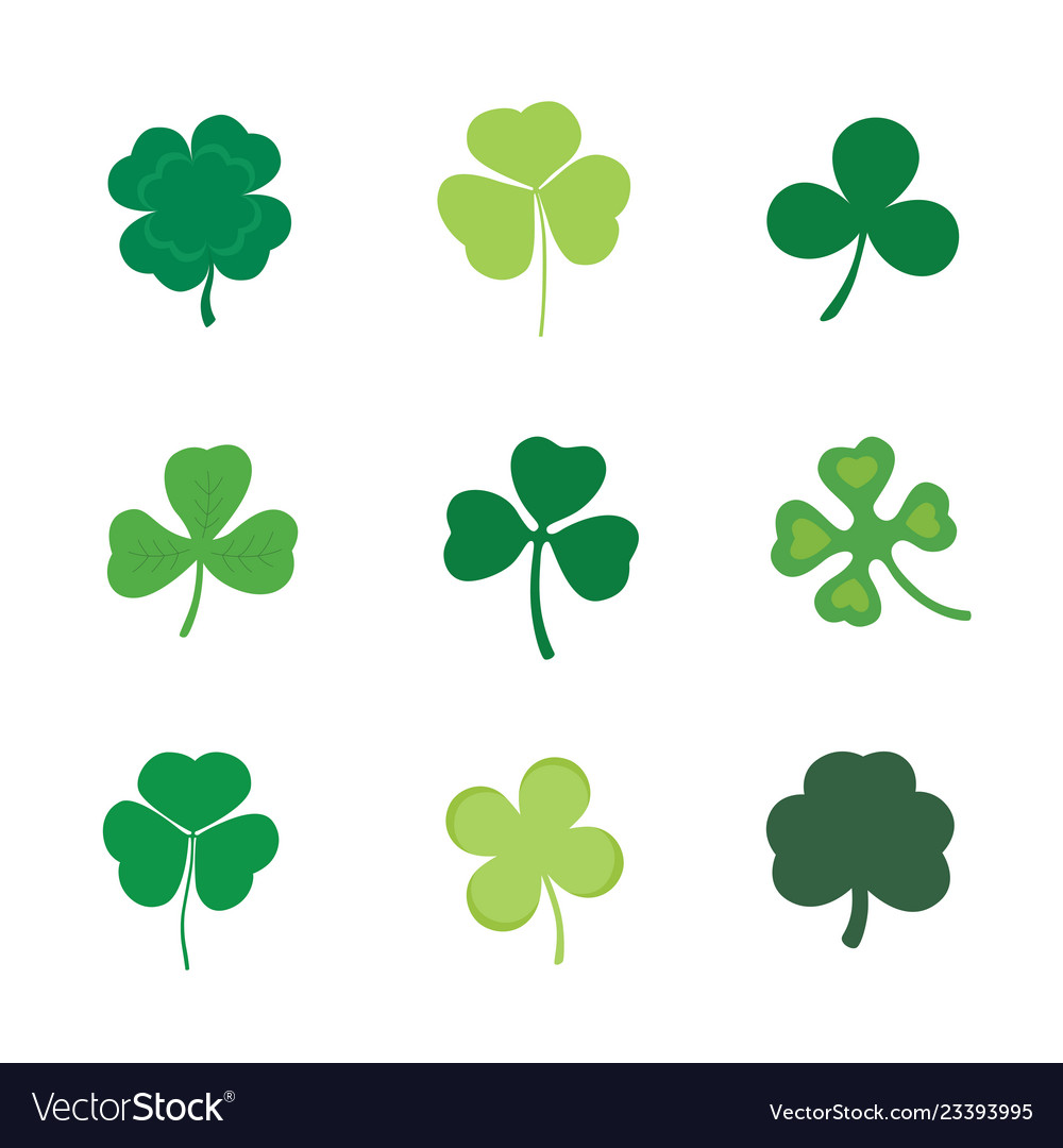 Set of four and three leaf clover stock