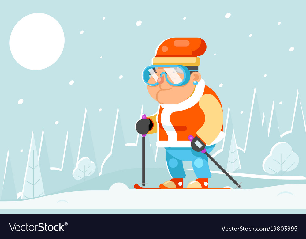 Skiing grandfather adult skier winter sports
