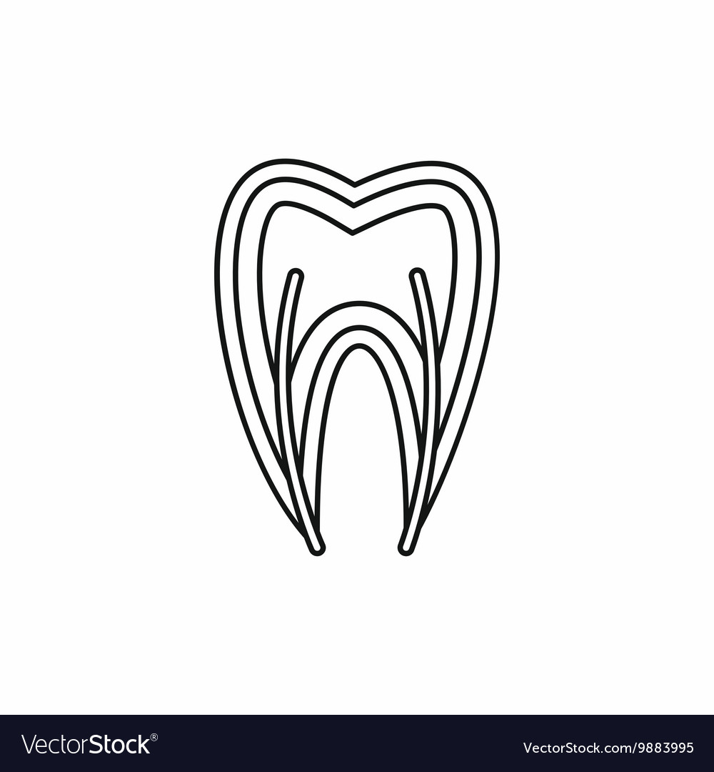 Tooth Cross Section Icon Outline Style Royalty Free Vector