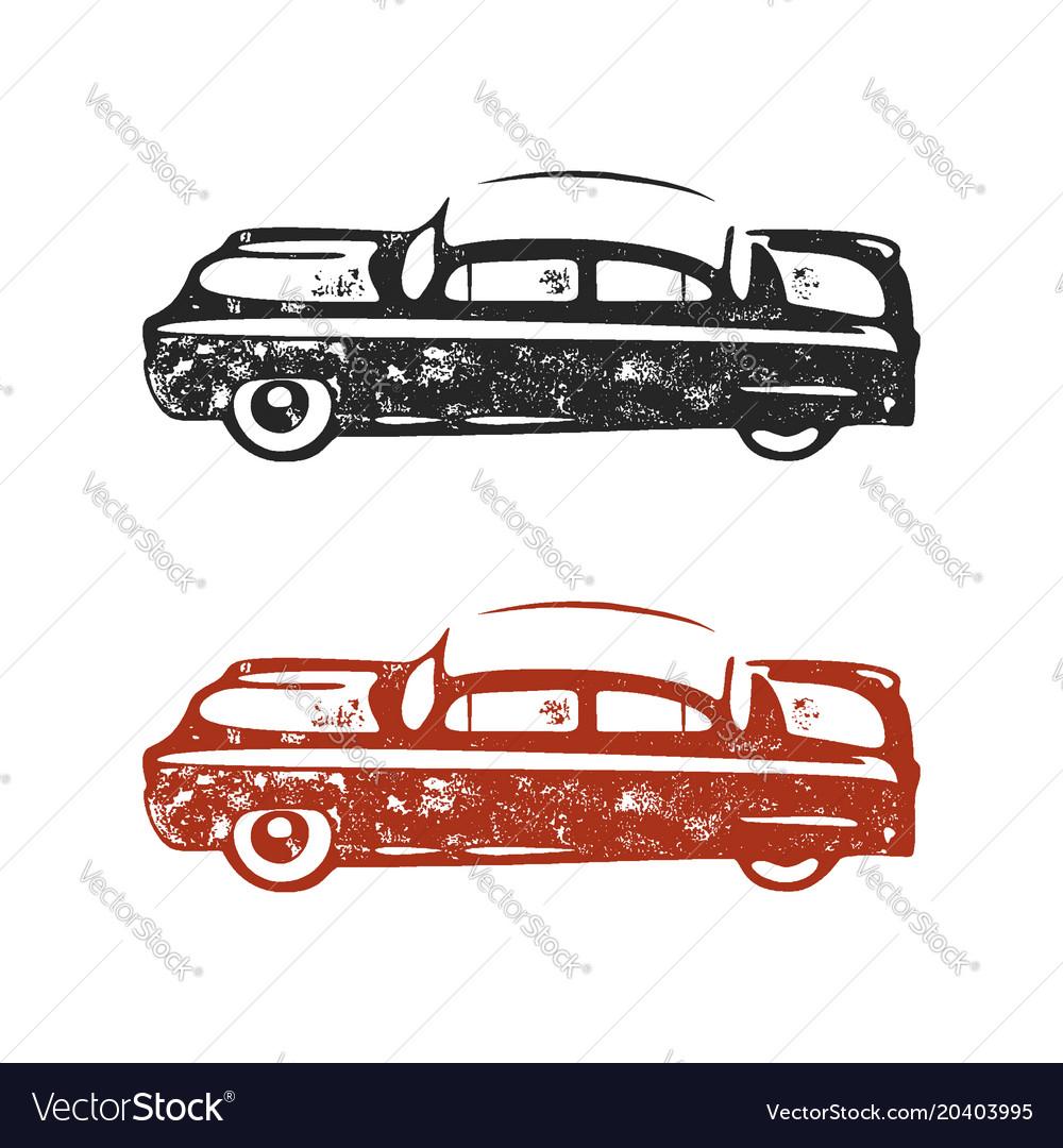 Vintage hand drawn car retro car symbol design