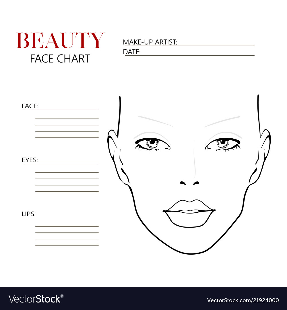 Beauty Face Chart Beautiful Woman With Open Eyes Vector Image