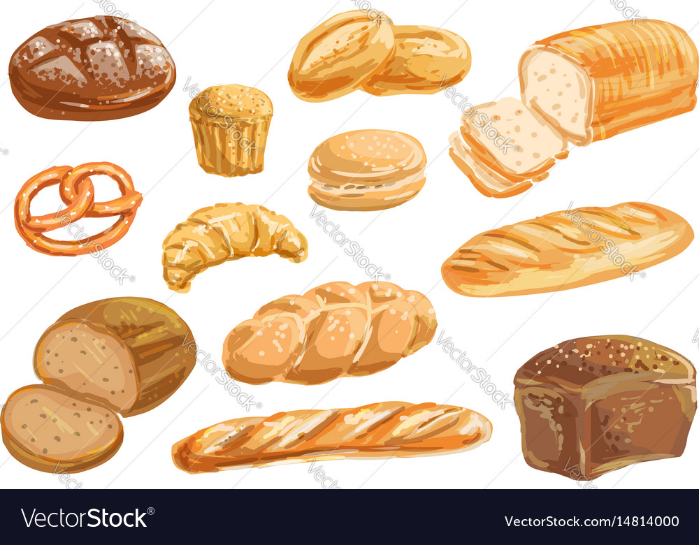 Loaf Of Bread Watercolor Vector Images 63