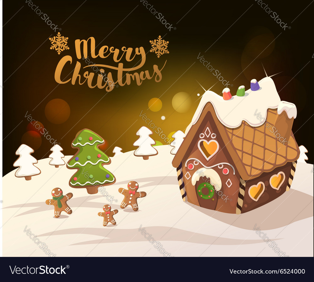 Christmas Gingerbread House Background.Cristmas Background With Gingerbread House