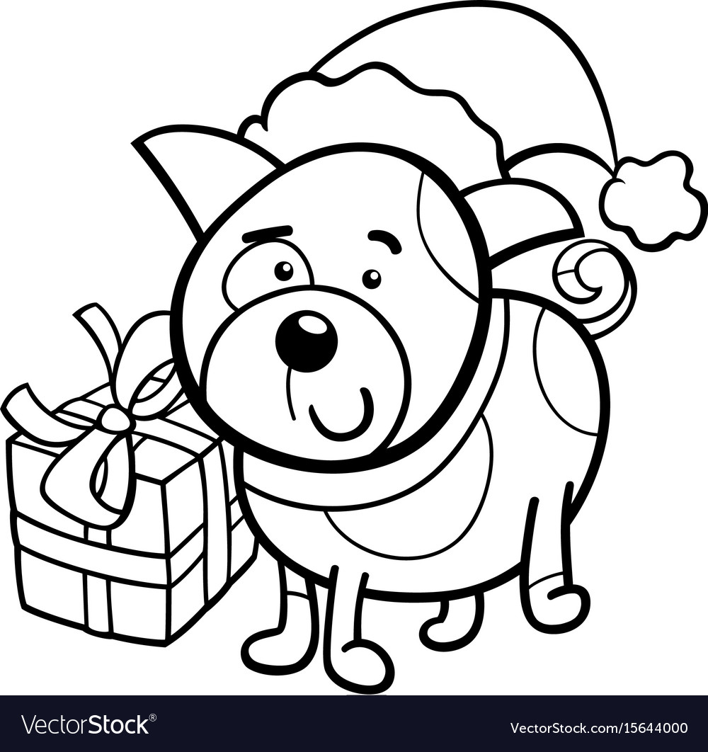 cute puppy on christmas coloring book vector image