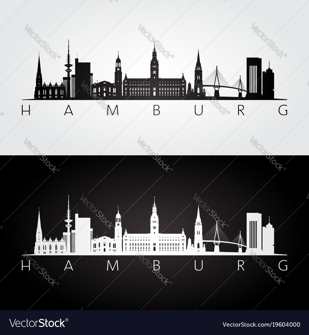 Hamburg skyline and landmarks silhouette