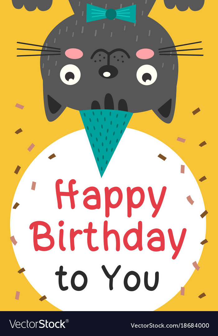 Happy Birthday Card With Black Cat Vector Image