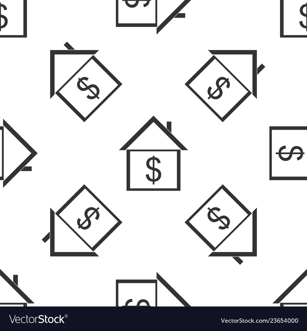 House with dollar icon seamless pattern