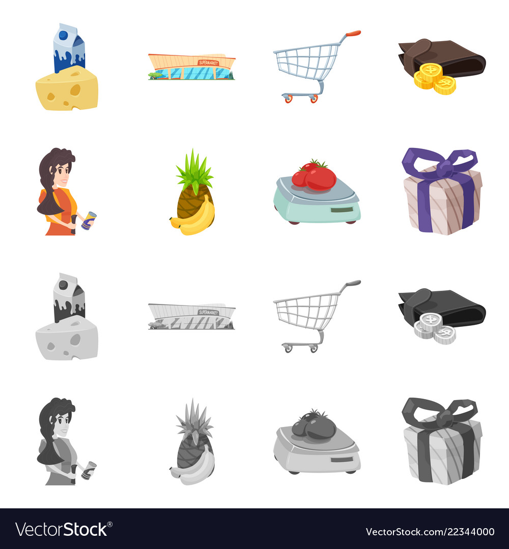 Isolated object of food and drink sign set of vector image on VectorStock