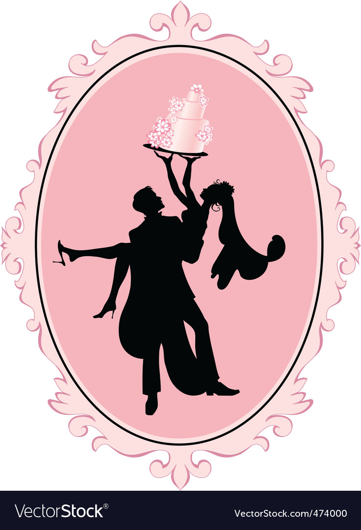 vector illustration of bride and groom in silhouette with wedding cake