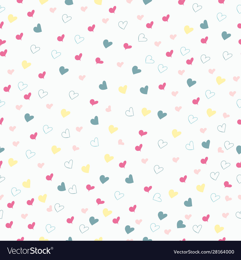 Rustic simple seamless pattern with hearts