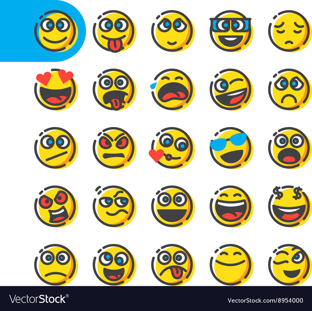 Set of emoji emoticons