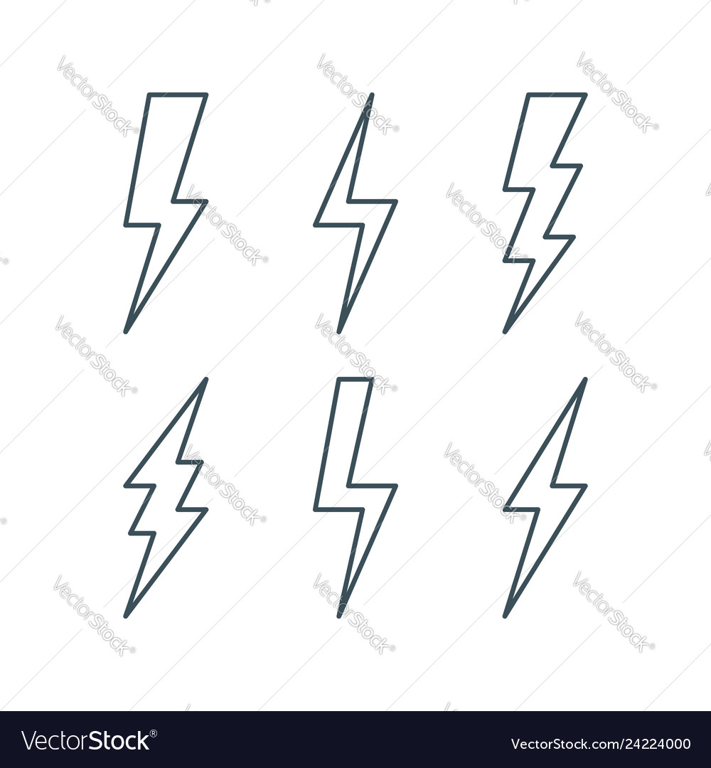 Thin line lightning bolt icons set