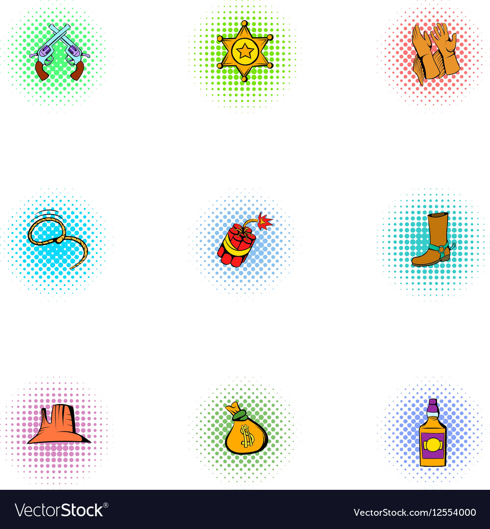 Wild West of America icons set pop-art style vector image