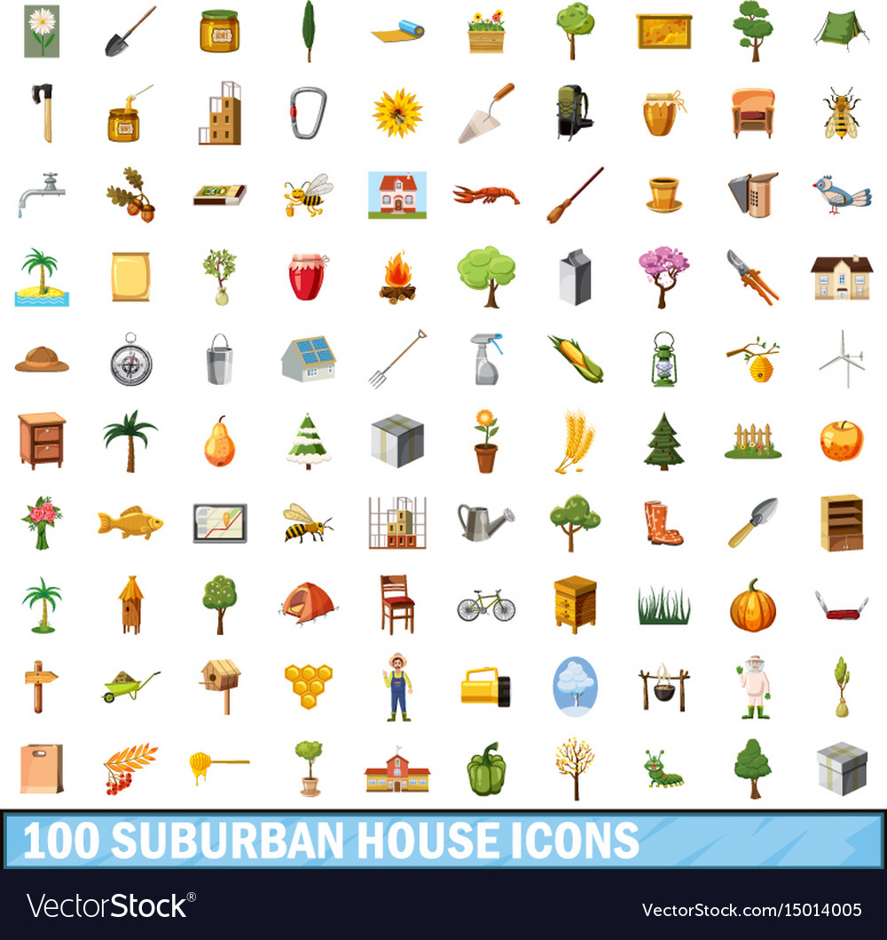 100 suburban house icons set cartoon style