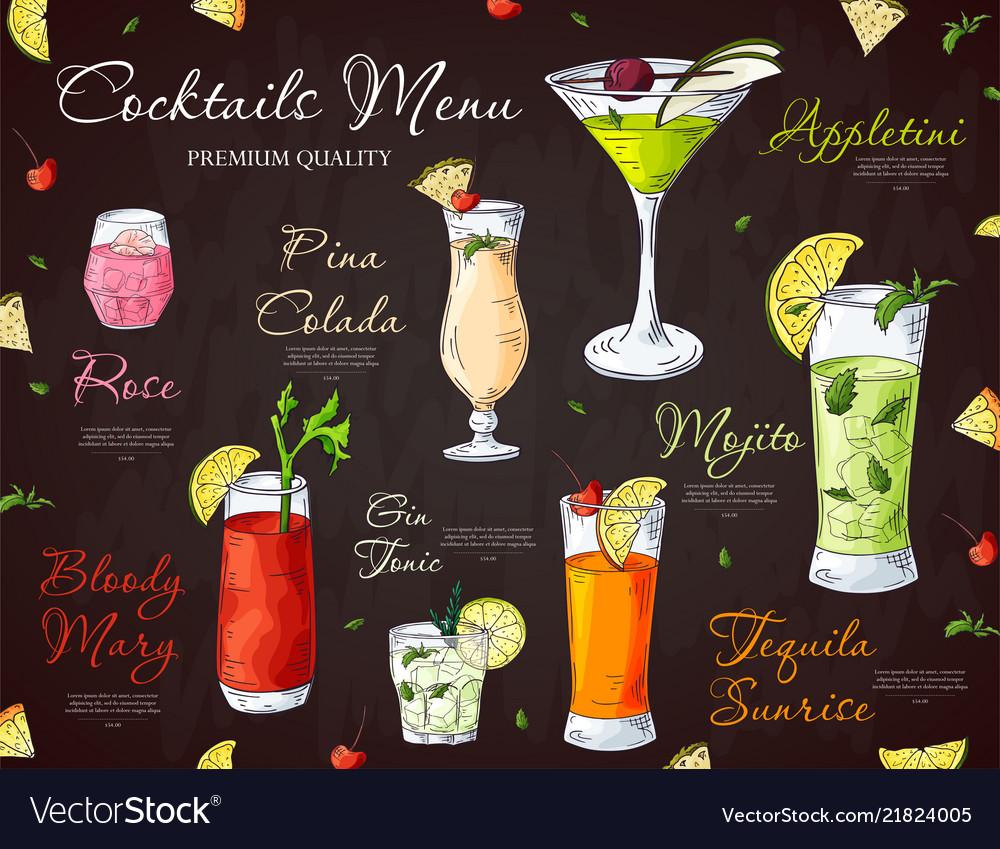 Bar menu design template for cocktail drinks