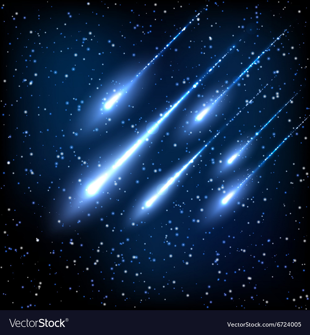 blue night sky with shooting stars royalty free vector image