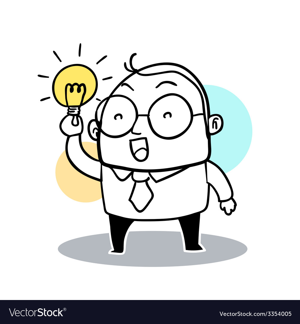 Business Man Hold Bulb vector image