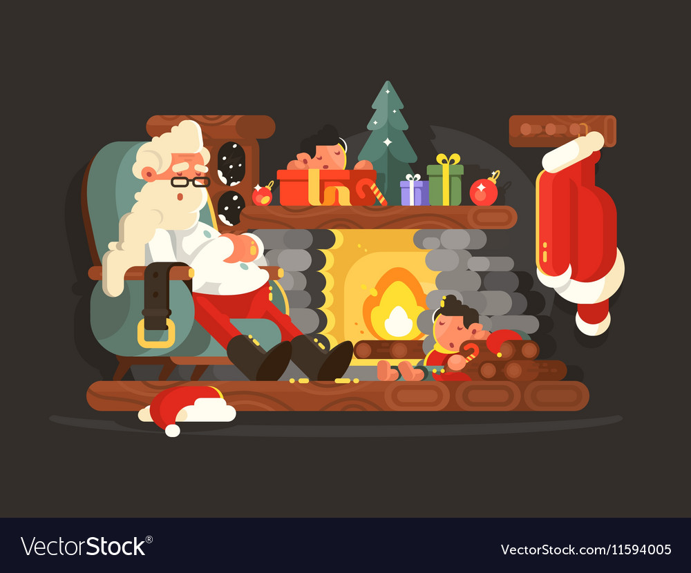 Character Santa Claus on chair near fireplace