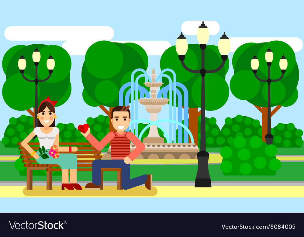Couple on a Park bench date Flat