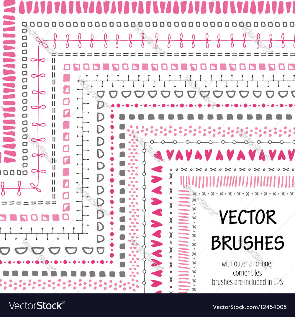 Hand drawn decorative brushes with inner