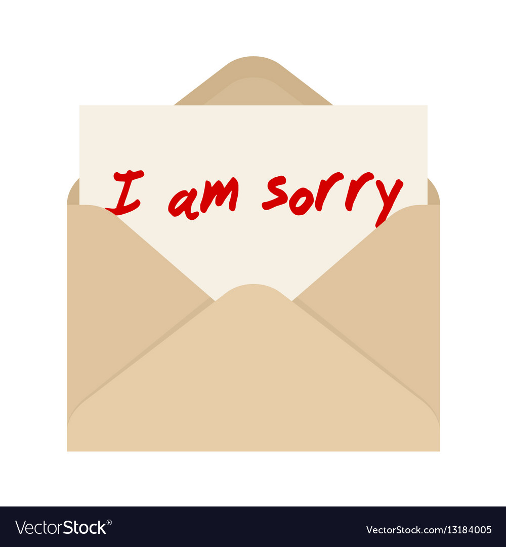 I am sorry card in brown envelope the letter vector image thecheapjerseys Images